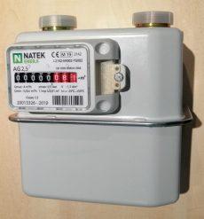 31___ Gázmérő NATEK G2,5, kétcsonkos, L=110 mm