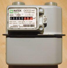3___ Gázmérő NATEK G4, kétcsonkos, L=110 mm